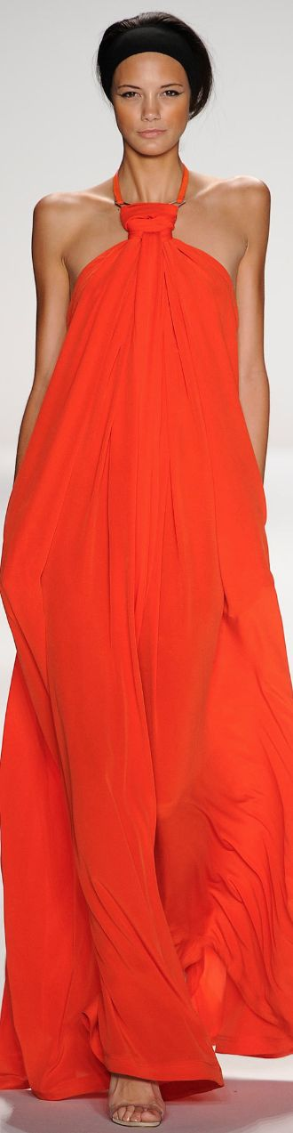 Kaufmanfranco Spring 2014 RTW great summer vibrant bright orange loose fitted maxi dress beach or evening