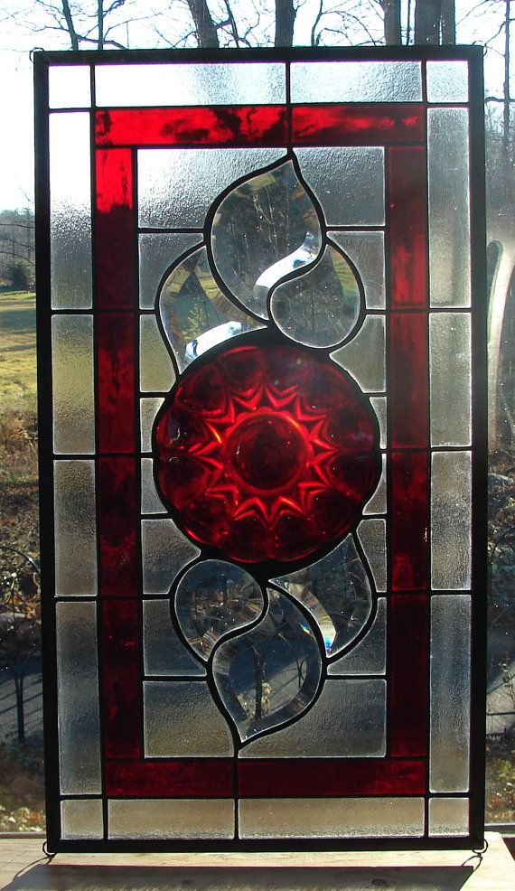 stained glass panel Ruby Red with bevels by BarbarasStainedGlass