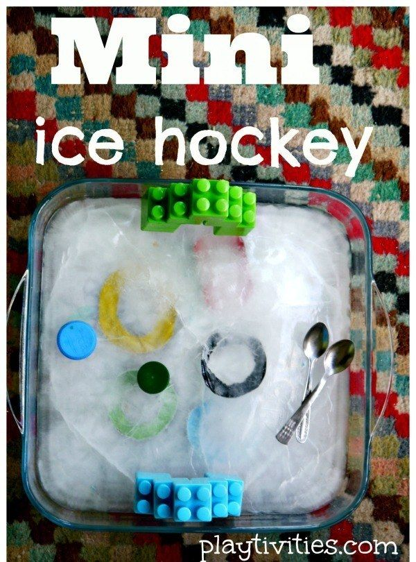 Freeze water to play mini ice hockey. | 37 Activities Under $10 That Will Keep Your Kids Busy All Winter