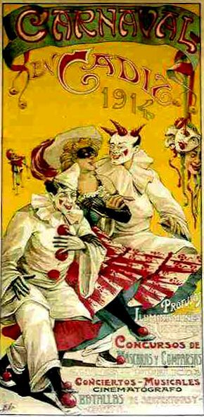 Carnaval de Cádiz  (1914)    art nouveau / poster / art / illustration / vintage / clown