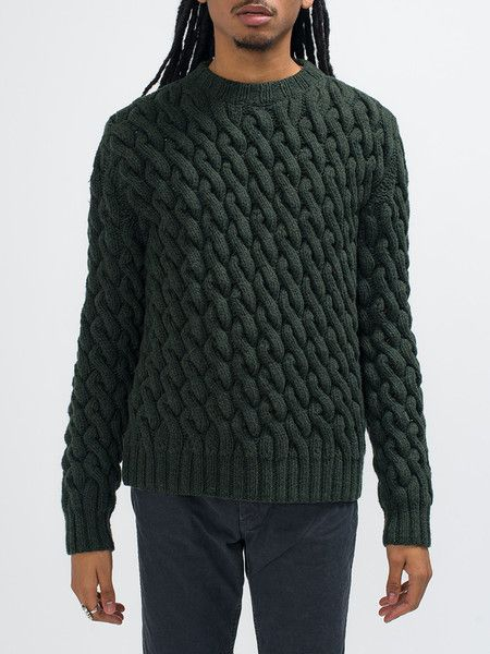ORLEY CHAIN STITCH HAND KNIT-FOREST GREEN - GENTRY NYC - 6