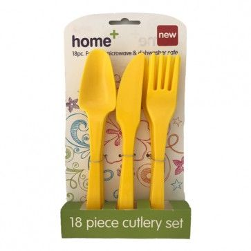 18Pk Plastic Cutlery Yellow   - Occasions