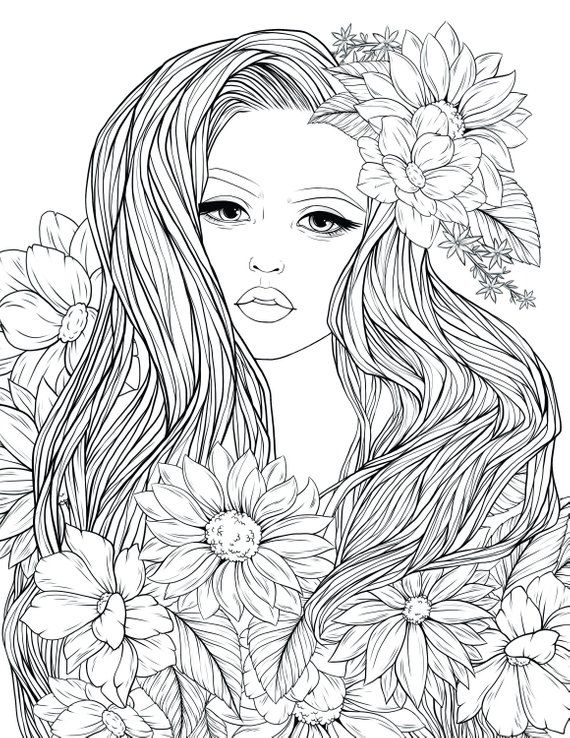 adult coloring page lady flowers digital coloring page printable 8 5 x 11 pdf products free. Black Bedroom Furniture Sets. Home Design Ideas