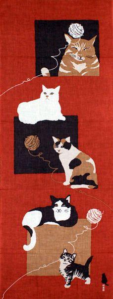 Japanese tenugui, cats@濱文様の絵てぬぐい 和ねこ