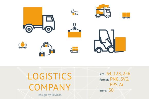 Logistics company (30 icons) by Revicon on @creativemarket