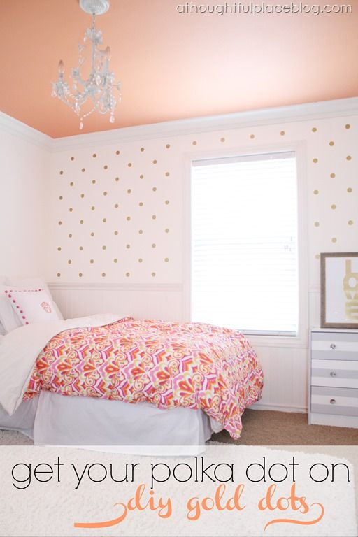 Super cute girls' room. {DIY} Gold Polka Dots | Using Decals. And a peach ceiling! (Could make dots with vinyl)