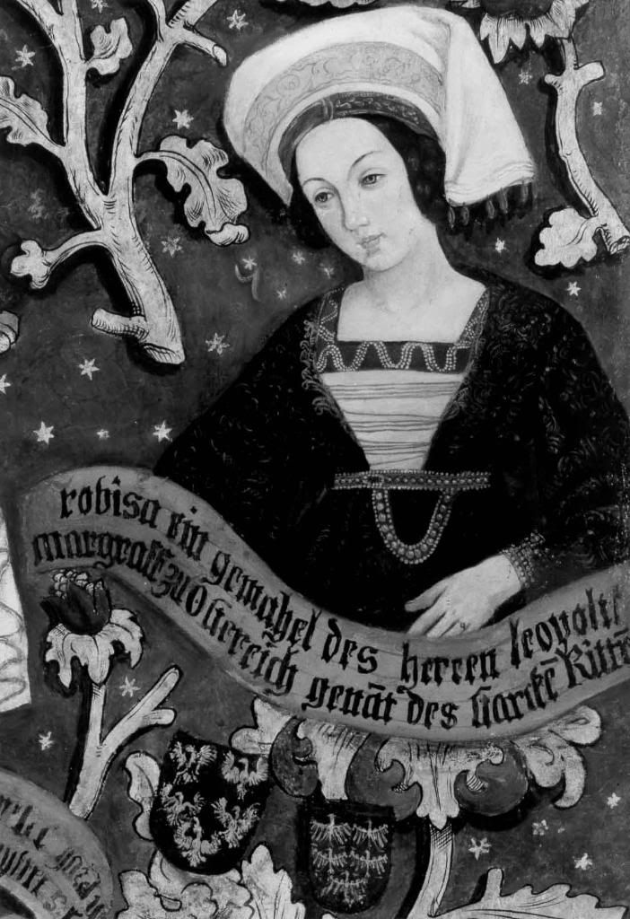The Triptych with the Babenberg Family Tree       Left panel of triptych       Right side panel of triptych       Images of wives and ...