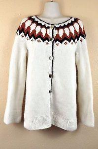 Icelandic Sweater Farmers Market Medium Angora Wool Blend Cardigan Handknit Scandinavian
