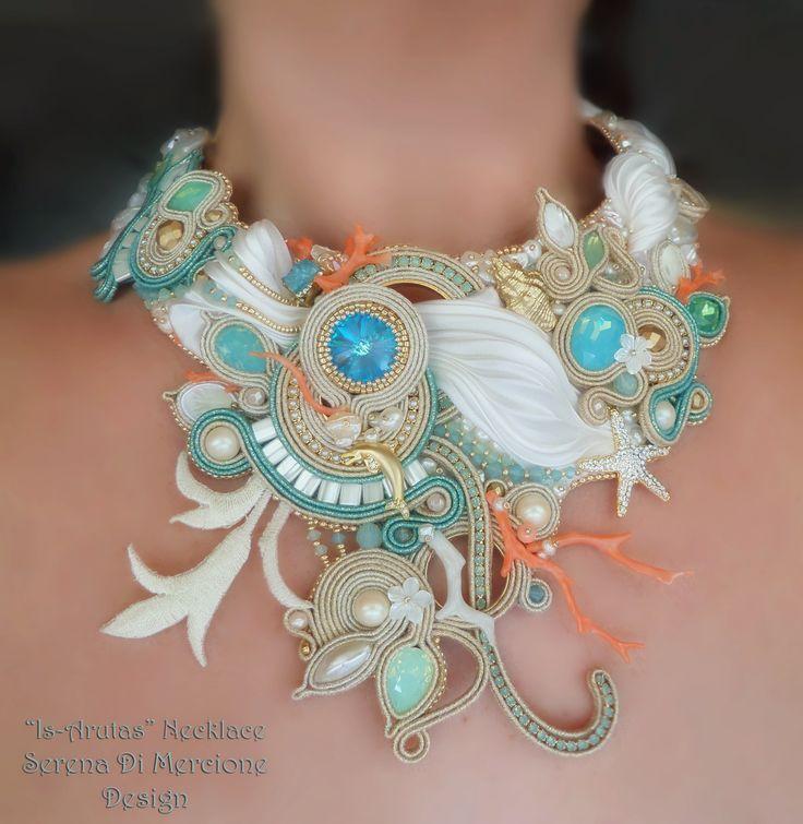 """""""Is Arutas"""" Necklace, designed by Serena Di Mercione. - Shibori silk, soutache, swarovski, pearls, coral."""