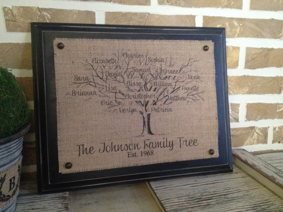 Family Tree Burlap Wall Hanging or by SimplyFrenchMarket on Etsy, $45.00