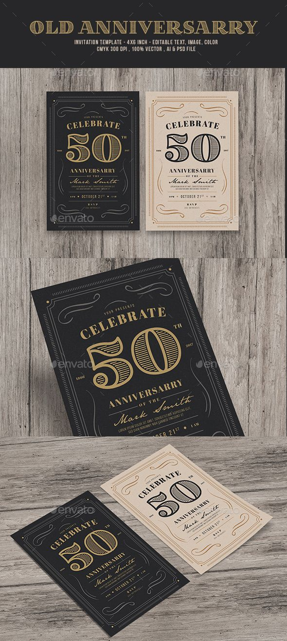 Vintage Anniversarry Invitation — Photoshop PSD #company anniversary #vintage • Available here → https://graphicriver.net/item/vintage-anniversarry-invitation/19575220?ref=pxcr