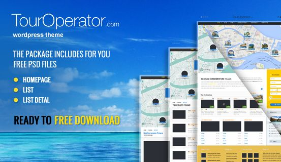 Here you can download 3 #PSD files of Touroperator #WordPress #Theme. Package includes layered PSD files of Homepage, List and List Detail great for your own project to use.