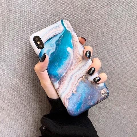 Blue Lava Glitter Marble Phone Case