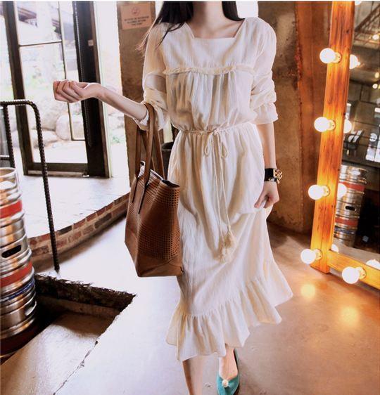 Korea feminine clothing Store [SOIR]  Vanessa surgery Long One Piece (Beltset: 2Color)/ Size : Free/ Price : 77.09USD  #korea #fashion #style #fashionshop #soir #feminine #special #lovely #luxury #dress #Ivory #black #longdress