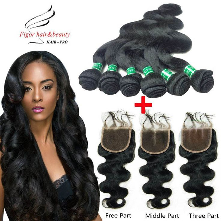 6 Bundles Brazilian Virgin Hair Weft Body Wave With Closure 5A Human Hair Bundles Weave Wavy Hair Extensions With Lace Closure