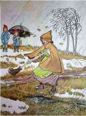 """Olles skidfärd"" av Elsa Beskow: I love that ""Old Girl Thaw"" even though she always comes too late for my liking"