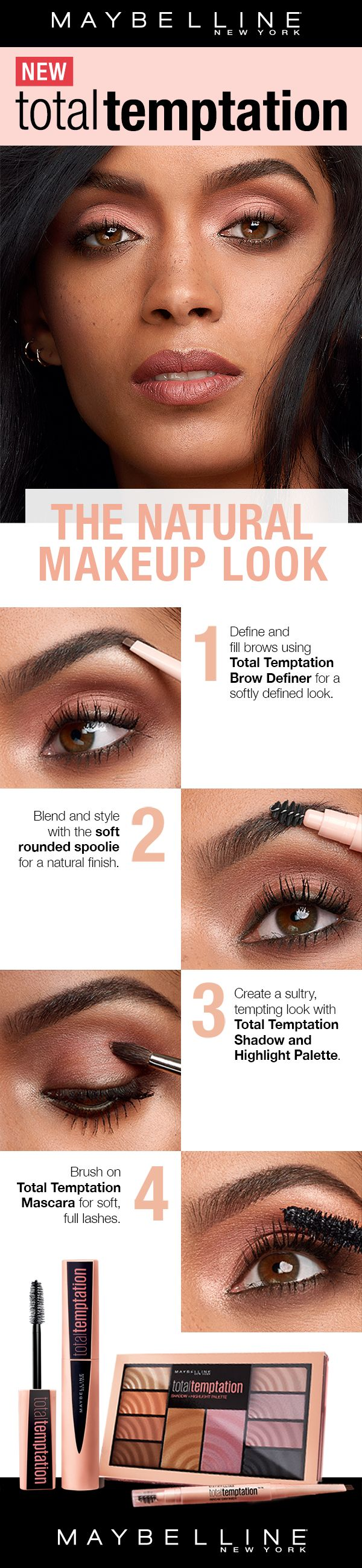 The most addictive makeup yet. Creamy color. Seductive scent. Ravishing results. Give in to Total Temptation. Featuring a Eyeshadow and Highlighter palette, a brow definer and a coconut-scented mascara. Use the Brow Definer for soft, natural looking brows. Create a natural eyeshadow look with the palette. Get voluminous and soft lashes with the mascara.