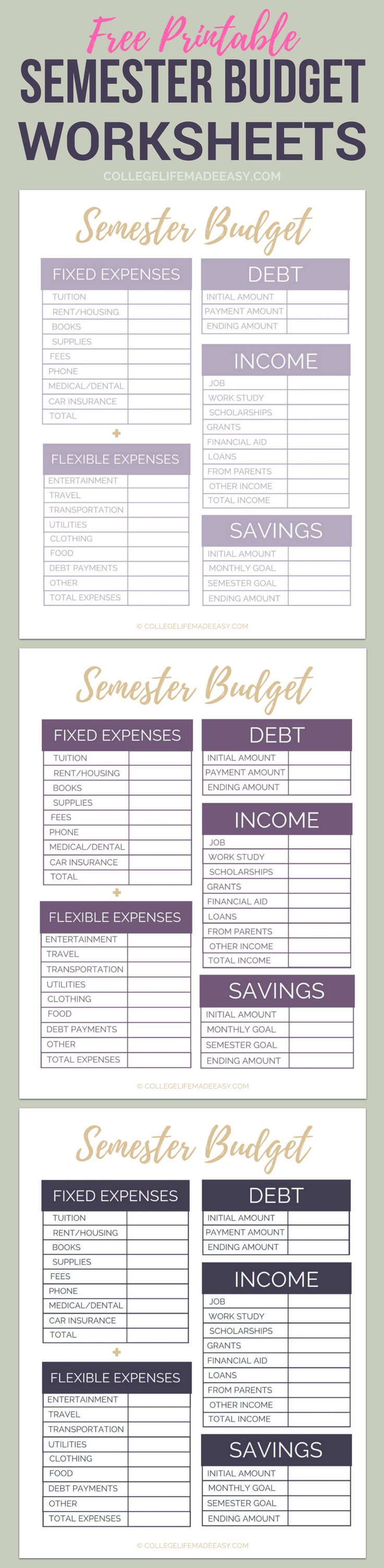 worksheet Budget Worksheet For College Students 25 unique college student budget ideas on pinterest free printable semester worksheets organize your finances in minutes