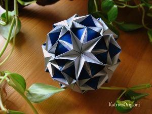 origami snow star kusudama Origami Snow Star Kusudama by diyforever