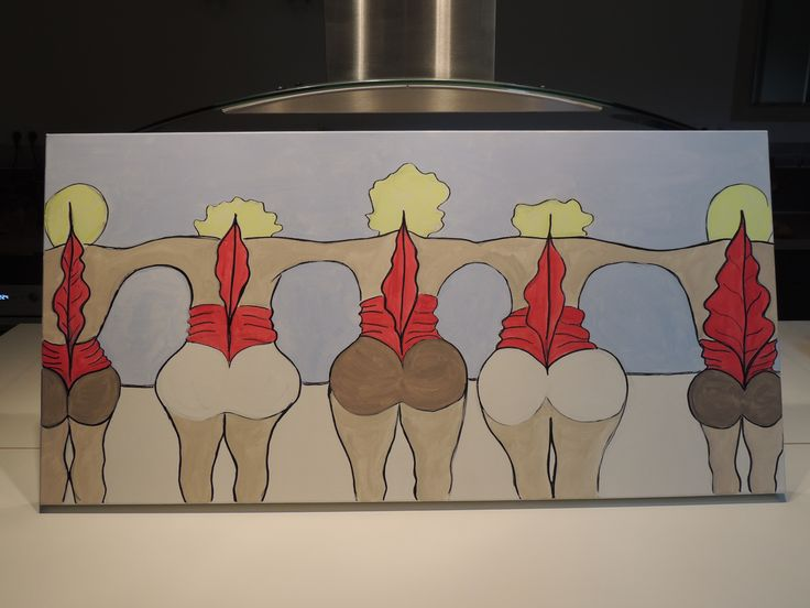 French Can Can dancers - Original acrylic painting on canvas 100 cm x 50 cm -