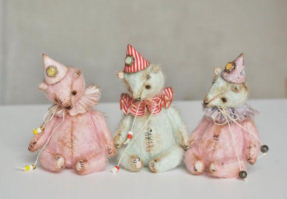Artist Teddy Bear  Clown - OOAK Vintage Styled Teddy - Miniature Teddy 10cm - Turquoise, Pink, Light blue, Red, Stripped