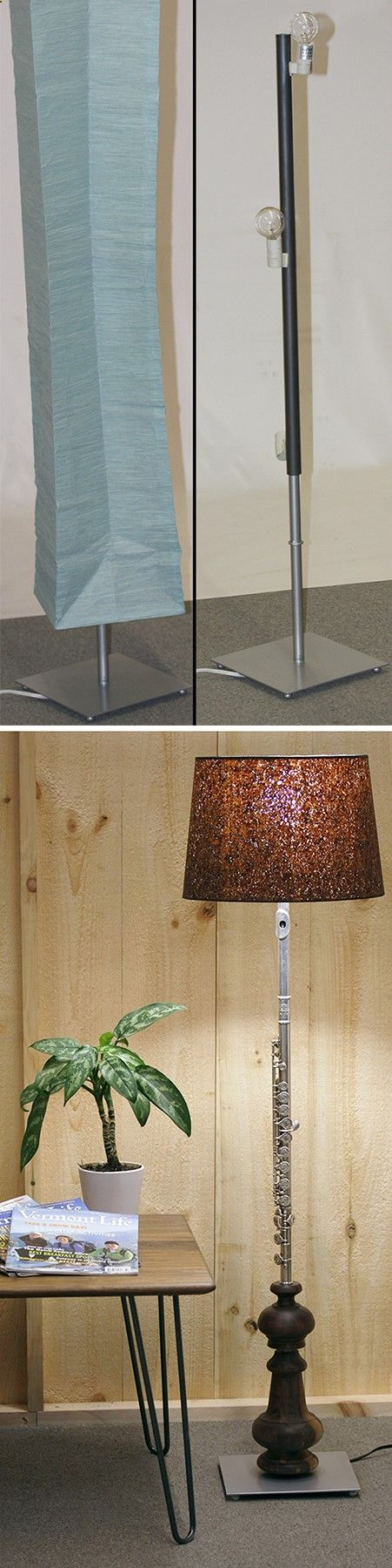 Flute Floor Lamp. This lamp was crying out for a makeover. Using just the bottom base, we added two black walnut bun feet, an old high school band flute and a cork shade that was stained to match the bun feet. We call this lamp, Light on Our Feet! Bun feet make great lamp bases with endless design combinations of shapes and wood species. By drilling a hole down through the center, you make an instant electrical cord channel. Design your perfect lamp for your home decor.