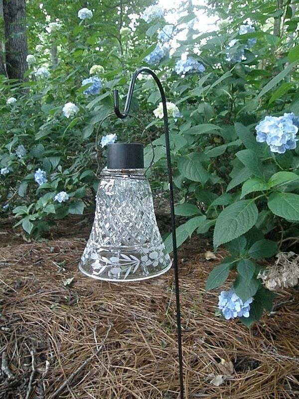 RECYCLED glass shade from light fixture + solar light + wire + shepherd's hook = CHIC garden LIGHT! Two Women and a Hoe