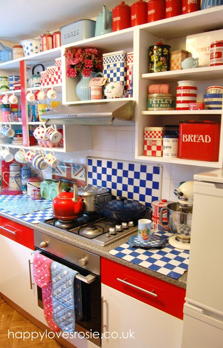 Happy's new kitchen = a riot of fun color!!! I'd change my name to Happy if this were my kitchen.