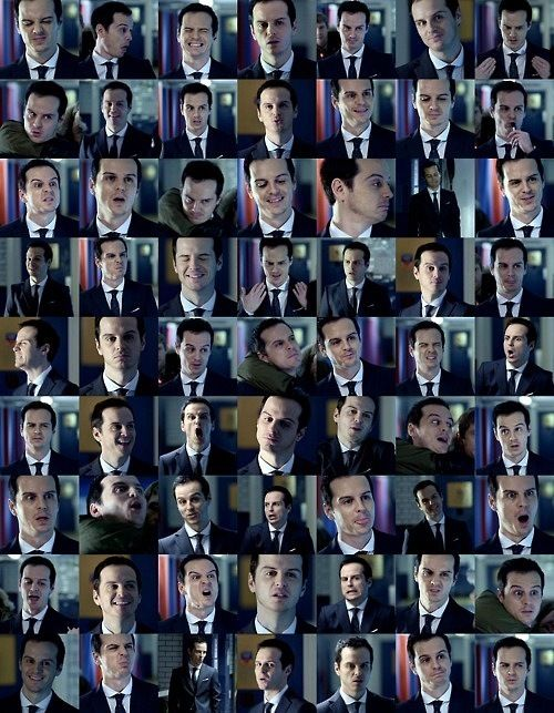 """Many faces of James Moriarty. All from one scene."" Jesus I know this scene so well I could probably put them in order!"