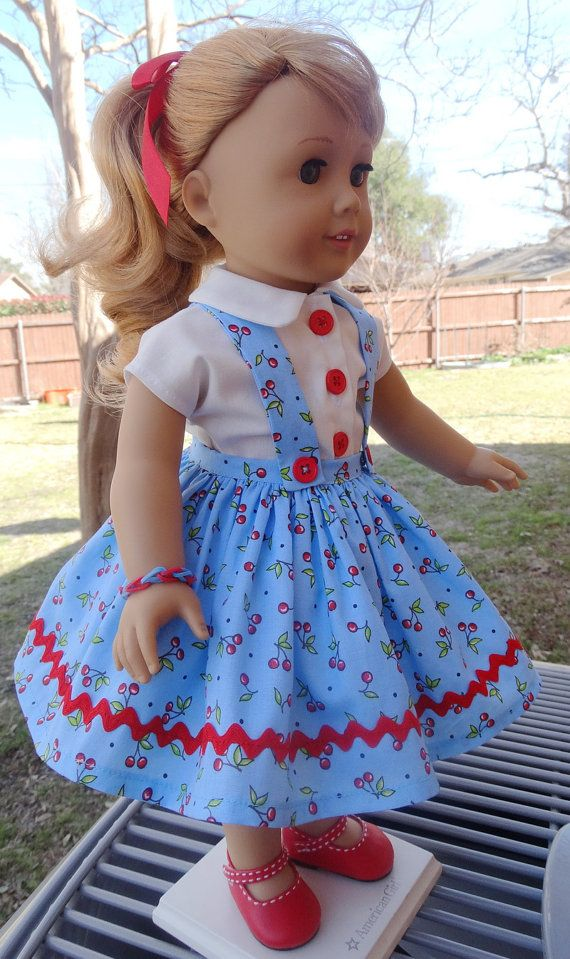 18 Doll Clothes 1950's Style Cherries Jumper and by Designed4Dolls