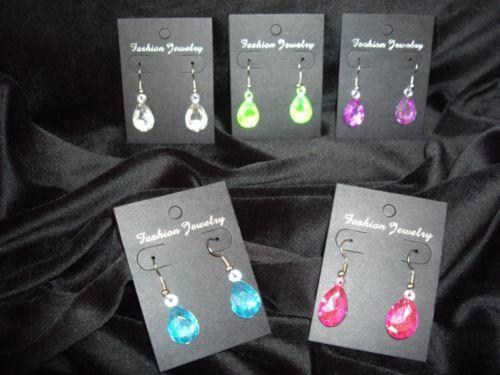 Pendants Earrings - 80s Fancy Dress - Hot Pink, Purple, Blue, Clear, Neon Green