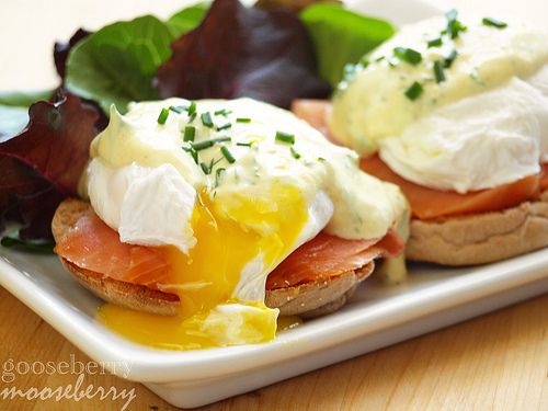 Eggs Benedict with smoked salmon and a mock Hollandaise sauce ...
