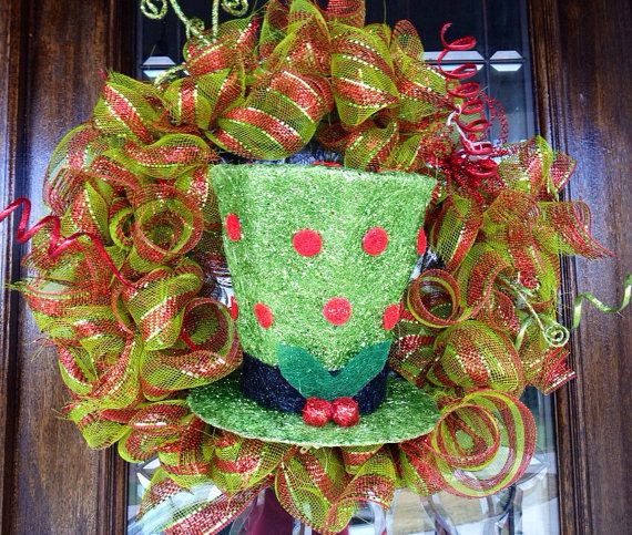 Christmas wreath with adorable hat with by LovebugWreathsNmore