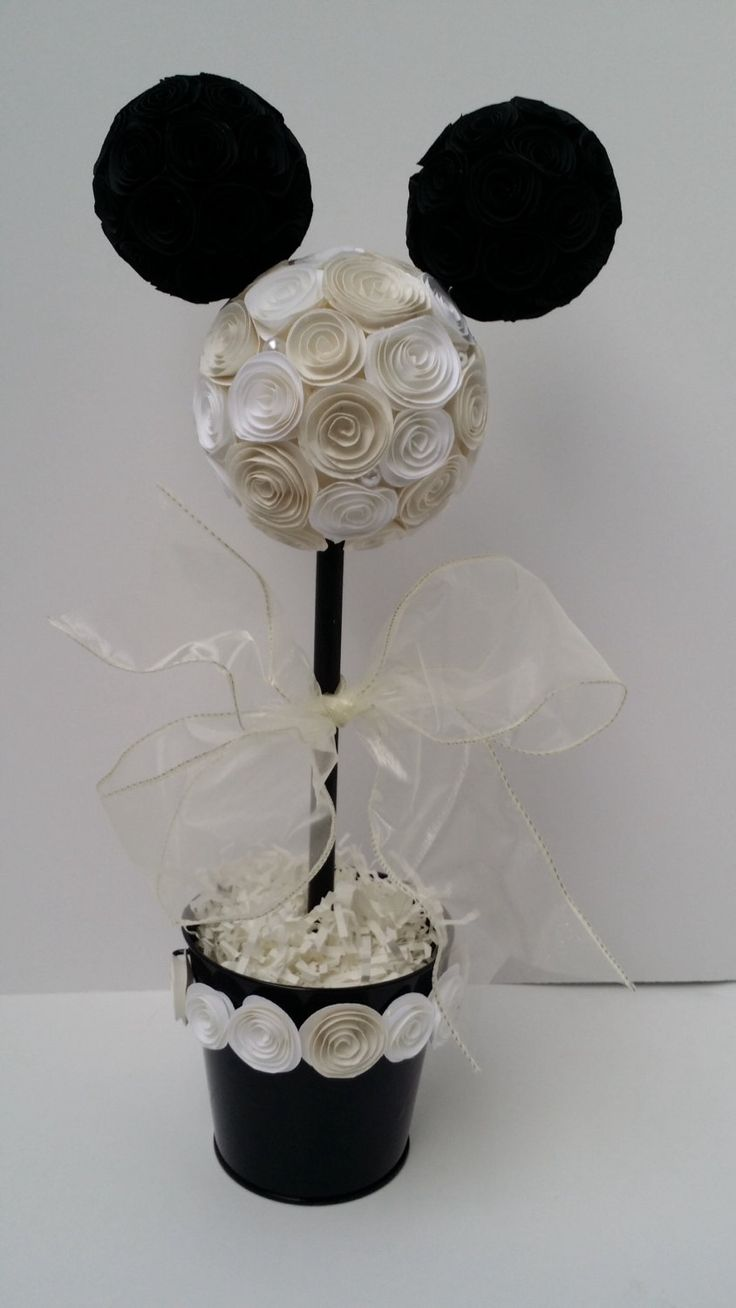 Disneyland photos disneyland paris bride groom table grooms table - Wedding Mickey Or Minnie Mouse Topiary For Table Decoration Centerpiece White Ivory And Black