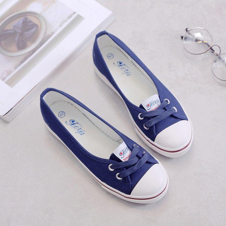 נעלי בד נעלי נשים נעליים נוחות להחליק על נעליים שטוחות תלמידים לדרוך גאות קוריאנית