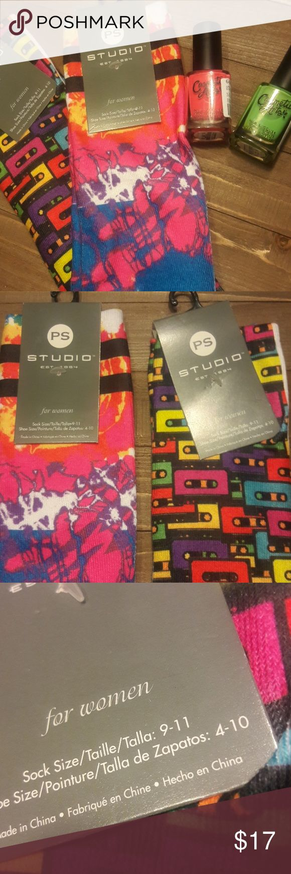 Foot loose bundle💃 2 pairs of women's  funky socks! Shoe size 4-10 2 bottles of fluorescent nail polish never opened! Accessories
