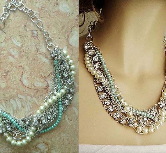 Turquoise Chunky Bridal Necklace Pearl Wedding Rhinestone Statement Necklace Bridesmaids Chunky Necklace Silver Green by sukrankirtisjewelry. Explore more products on http://sukrankirtisjewelry.etsy.com