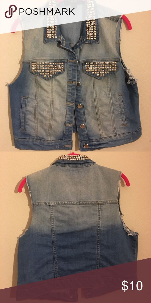 forever 21 sleeveless jean jacket dark/ light wash silver studded sleeveless jean jacket vest. worn only a few times and in great condition!! Jackets & Coats Jean Jackets