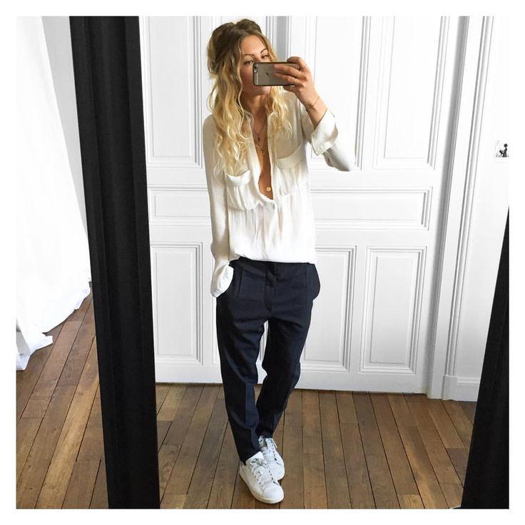 "3,980 Me gusta, 54 comentarios - Mélanie Delhaye (@meleponym) en Instagram: ""+un gilet Cachemire et une veste en cuir✔Chemise #Zara (old) pantalon Senda #isabelmarant chez…"""
