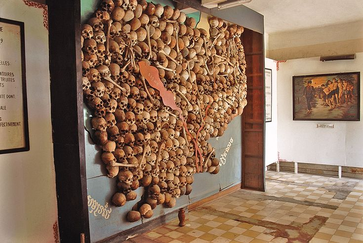 Controversial 'skull map', in Tuol Sleng Museum, now removed.