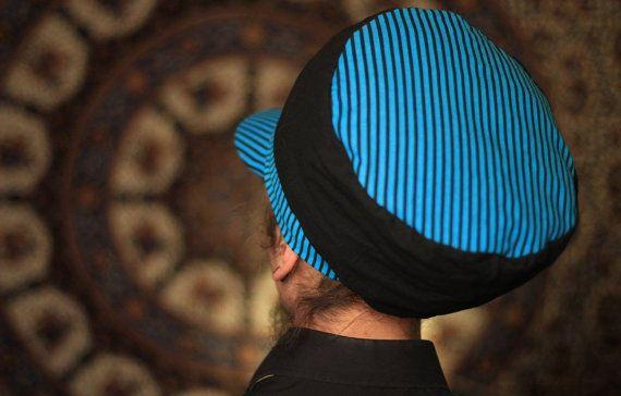 Dreadbag  black and blue stripped dreadlocks cap by WuSquared