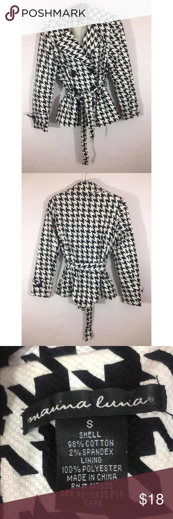 """Houndstooth belted peacoat Medium weight Marina Luna black and white houndstooth double breasted and belted jacket. Perfect for fall. Size small. Lined. Shell: cotton/spandex, lining: 100% polyester. Dry clean. Underarm to underarm: 19"""" Length: 24"""" marina luna Jackets & Coats Pea Coats"""