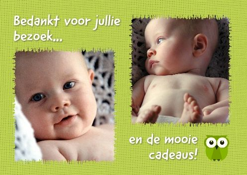 Bedankkaart twee fotos met rafelrandje en textiel-achtergrond / thank you card with two pictures