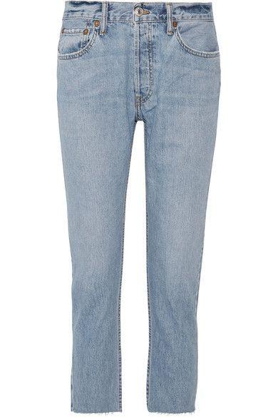 RE/DONE - Originals Cropped Frayed Slim Boyfriend Jeans - Blue - 28