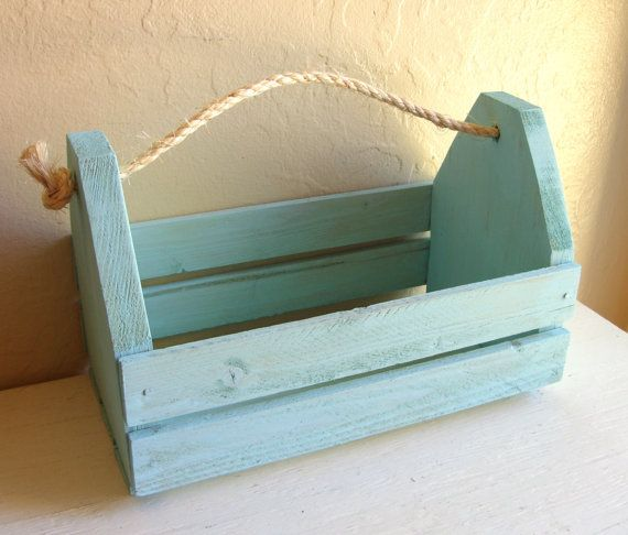 Do It Yourself Home Design: Nautical Turquoise Blue Wood Caddy Tool Box Rope Handle