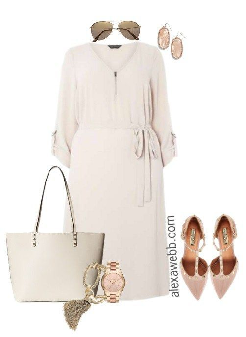 Beige style dress for plus size