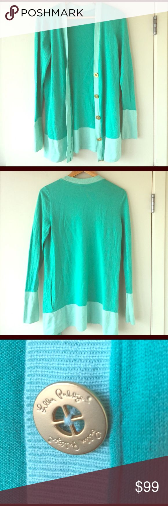 Lilly Pulitzer turquoise cardigan Lightly worn. Lilly Pulitzer Sweaters Cardigans
