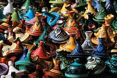 Tagines (Claire Wroe) Tags: color colour shop pattern bright market painted stall morocco maroc marrakech pottery souk medina marrakesh tagine