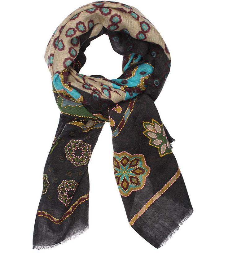2-15FLORINE NOIR - VDMD Foulards et accessoires de mode