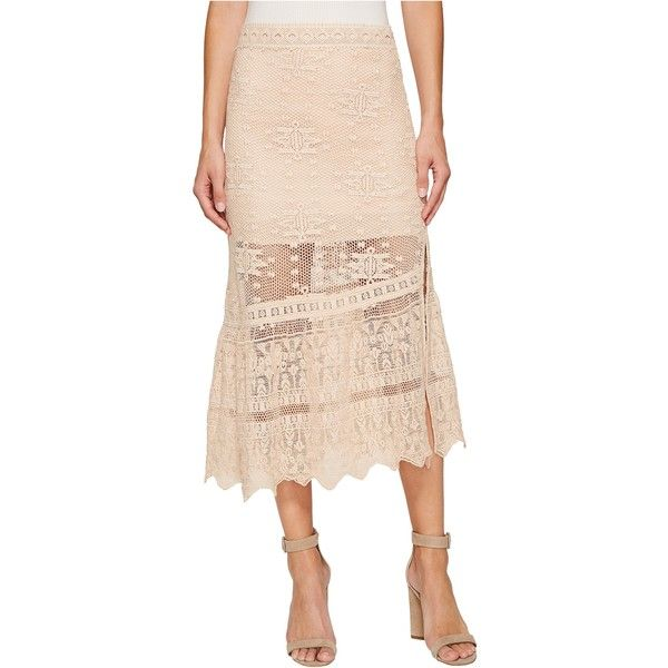 Jen's Pirate Booty Tequila Midi Skirt (Sierra Madre Summer Quartz)... ($110) ❤ liked on Polyvore featuring skirts, beige, trumpet skirt, scalloped skirts, knee length summer skirts, summer skirts and midi trumpet skirt